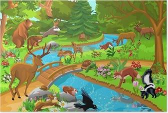 Poster Wild lebende Tiere in den Wald