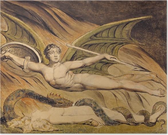 Poster William Blake - Satan frohlockt über Eva - Reproduktion