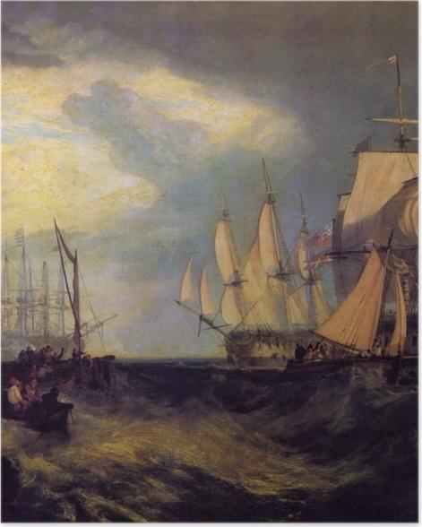 Poster William Turner - Spithead; Die Besatzung lichtet den Anker - Reproduktion