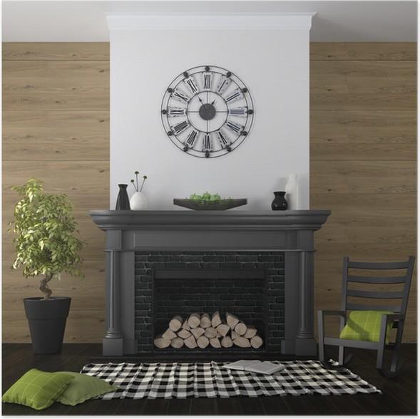 Poster Wohnzimmer Mit Kamin Und Schwarz Grün Dekor