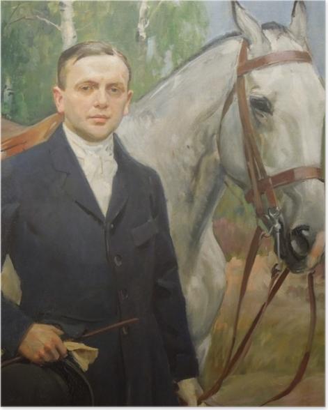 Poster Wojciech Kossak - Porträt von Bronisław Krystall mit einem Pferd - Reproductions