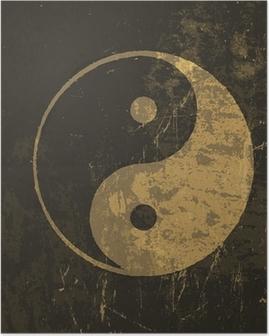 Poster Yin-Yang-Symbol Grunge. Mit gefärbt Textur, Vektor