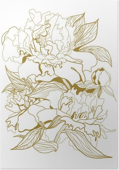 pfingstrose zeichnen blumen zeichnung, poster zeichnen pfingstrosen bouquet • pixers® - wir leben, um zu, Design ideen