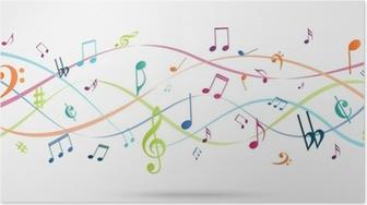 Poster Zusammenfassung Hintergrund mit bunten Musiknoten