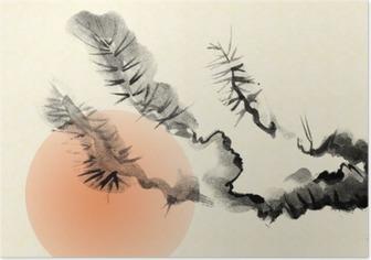 Poster Zweige einer alten Kiefer, die im Stil von Sumi-e gezogen.