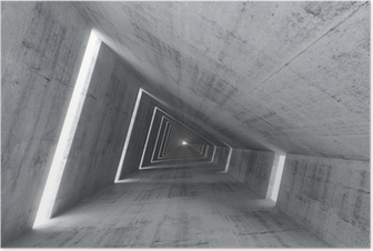 Póster Abstract empty concrete interior, 3d render of pitched tunnel
