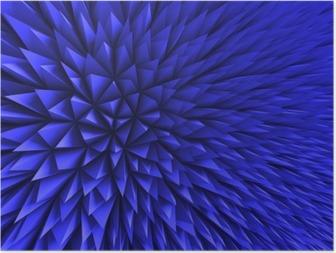 Póster Abstract Poligon azul caótica