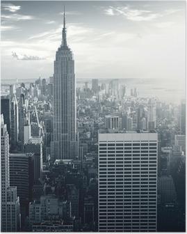 Póster Amazing view to New York Manhattan at sunset