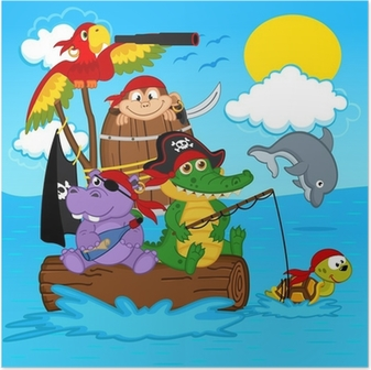 Póster animals pirates - vector illustration, eps