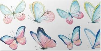 Póster Aquarela de coleção de borboletas a voar.