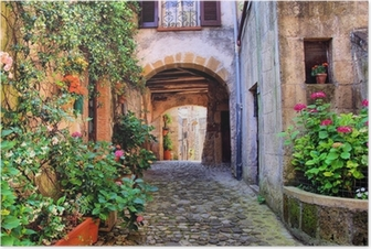 Póster Arched cobblestone street in a Tuscan village, Italy