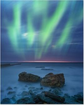 Póster aurora borealis over the sea