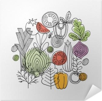 Póster Autoadesivo Composição redonda dos vegetais. gráfico linear. fundo de legumes. estilo escandinavo. comida saudável. ilustração vetorial