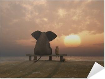 Póster Autoadesivo elephant and dog sit on a summer beach