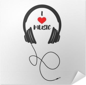 Póster Autoadesivo Eu amo a música