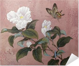 Póster Autoadesivo Flor da azálea e borboleta