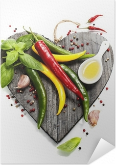 Póster Autoadesivo Fresh vegetables on heart shaped cutting board