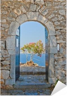 Póster Autoadesivo Gate in Palamidi fortress, Nafplio, Greece