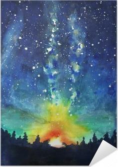 Póster Autoadesivo Paisagem. Floresta, céu nocturno, estrelas, espaço. dor na mão Watercolor