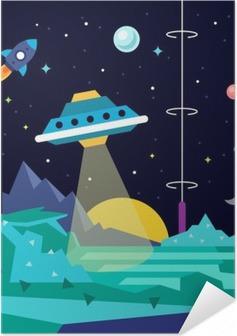 Póster Autoadesivo Paisagem planeta espaço Estrangeiro com UFO