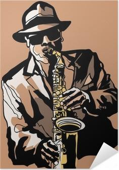 Póster Autoadesivo Saxophone player