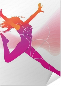 Póster Autoadesivo The dancer. Colorful silhouette with lines and sprays on abstrac