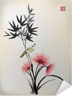 Póster Autoadesivo Tinta estilo chinês desenho da flor do pássaro