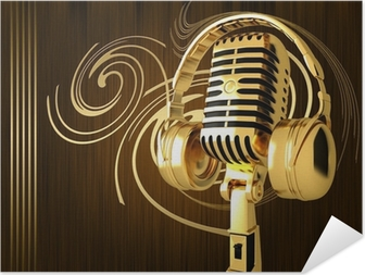 Póster Autoadesivo Vintage Microphone on the background of fire
