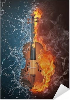 Póster Autoadesivo Violin on Fire and Water