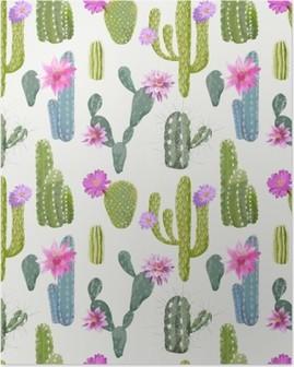 Póster Background Cactus vetor. Padrão repetido. Planta exótica. Trópico