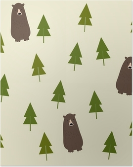 Póster Bear and forest seamless background.