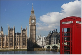 Póster Big Ben with red telephone box in London, England