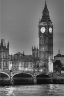 Póster Black and White photo of Big Ben, London, United Kingdom