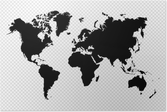 Póster Black silhouette isolated World map EPS10 vector file.