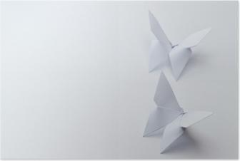 Póster Borboletas de origami em fundo branco