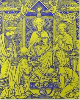 Póster Bratislava, Eslováquia, NOVEMBRO - 21, 2016: A litografia de Três Reis Magos em Missale Romanum por artista desconhecido com as iniciais FMS de final de 19. cento. e impresso por Typis Friderici Pustet.