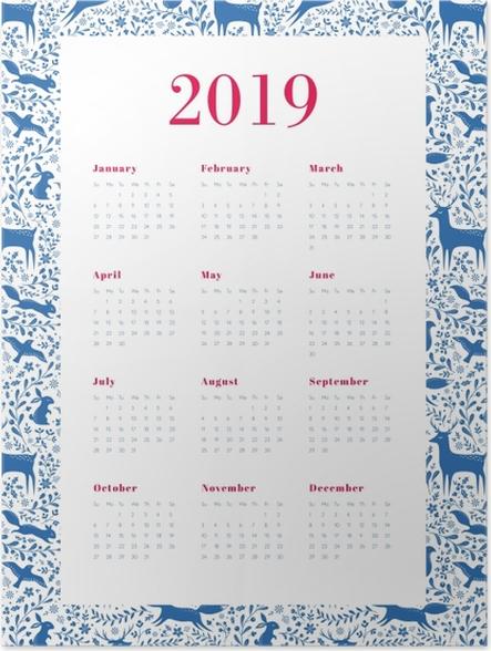 Póster Calendário 2019 - azul e branco -