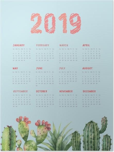 Póster Calendário 2019 - cactus e turquesa -