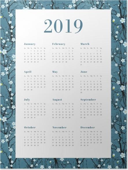 Póster Calendário 2019 - Flores brancas -