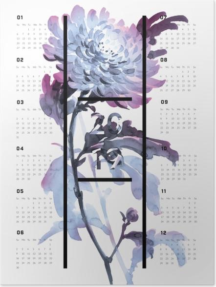 Póster Calendário 2019 - Flores -