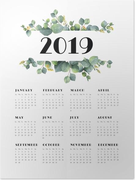 Póster Calendário 2019 - folhas e branco -