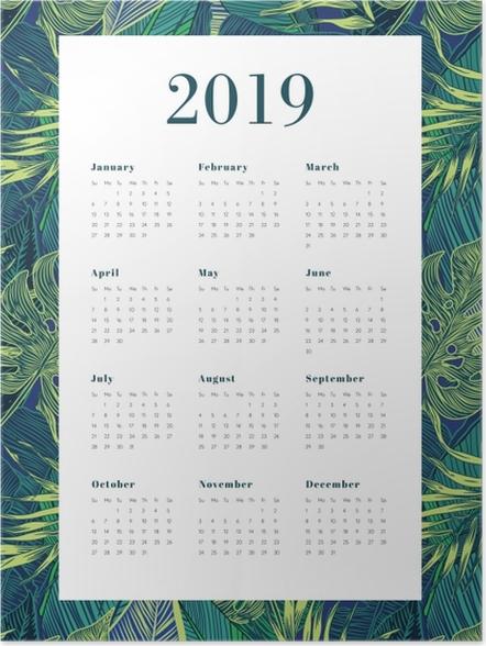 Póster Calendário 2019 - folhas monstera -