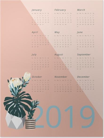Póster Calendário 2019 - Pantone 2019 -