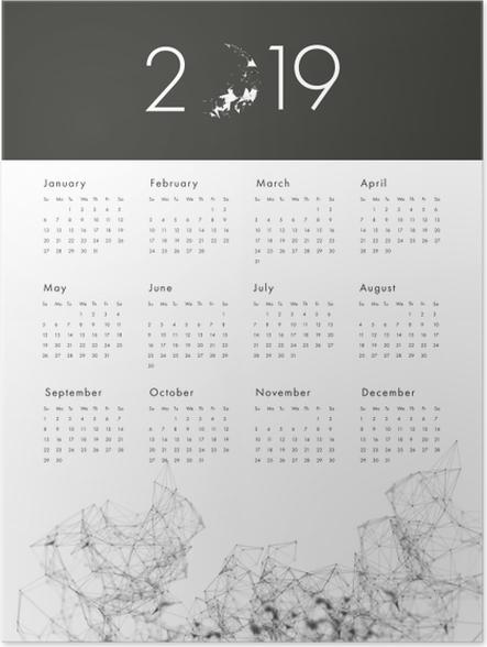 Póster Calendário 2019 - preto e branco -