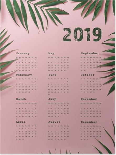 Póster Calendário 2019 - rosa e folhas -