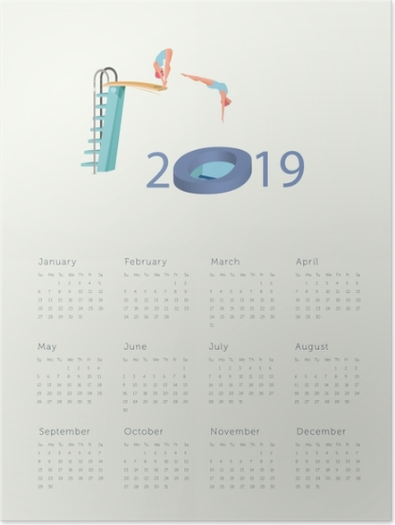 Póster Calendário 2019 - salto para o novo ano -