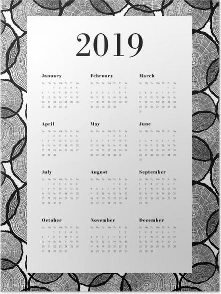 Póster Calendário 2019 - Troncos de árvores -