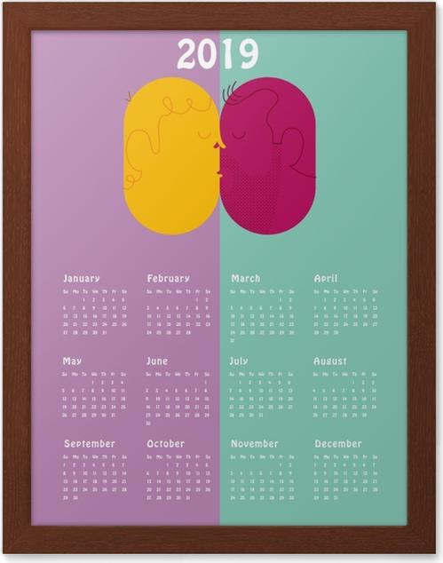 Póster com Moldura Calendário 2019 - beijo -