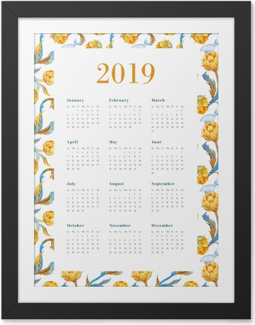 Póster com Moldura Calendário 2019 - Flores amarelas -