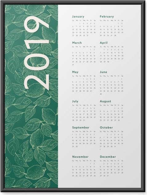 Póster com Moldura Calendário 2019 – Folhas -